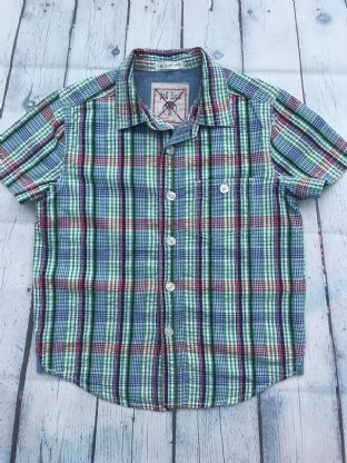 FatFace green, blue and red check short sleeve shirt age 6-7